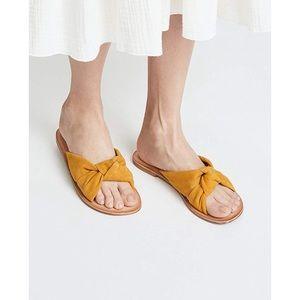 Jeffrey Campbell mustard yellow leather slides